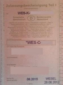 Fahrzeugschein WES