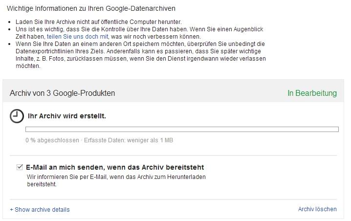 Google Backup - Archiv wird erstellt