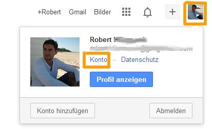 Google Backup - Auf Konto zugreifen