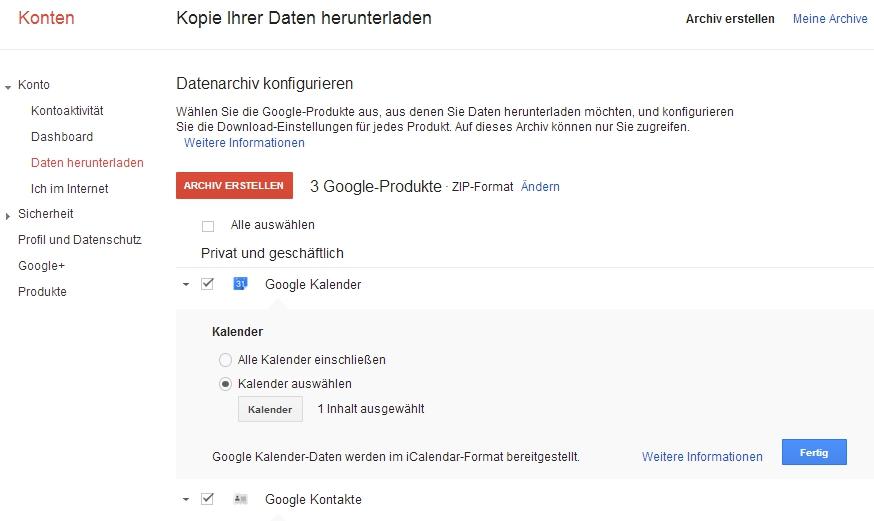Google Backup - Daten herunterladen
