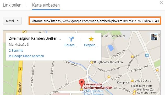 Google Maps iframe Link im Blog einbetten