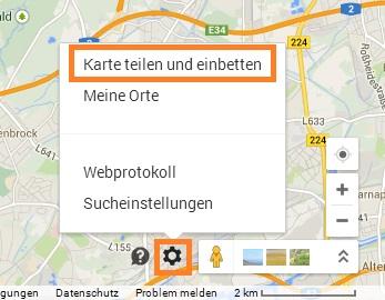 Google Maps im Blog einbetten - Zahnrad unten rechts für einbetten