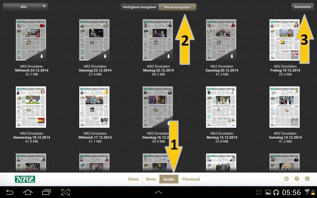 NRZ Zeitungskiosk App - Archiv
