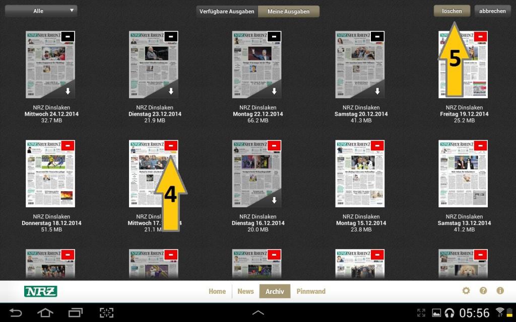 NRZ Zeitungskiosk App - Archiv Bearbeiten