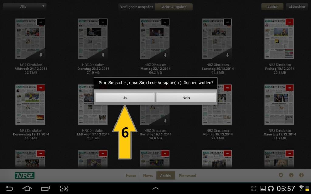 NRZ Zeitungskiosk App - Archiv Bearbeiten und dann noch auf löschen klicken