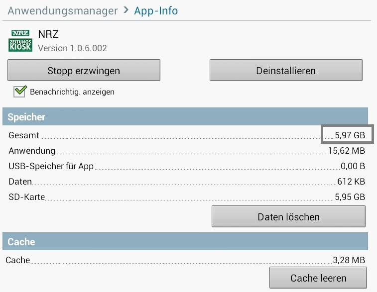 NRZ Zeitungskiosk App - Verbraucht sehr viel Speichplatz