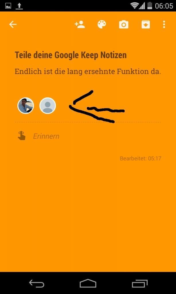 Neue Google Keep Teilen Funktion - so sieht es aus wenn Personen den Notizen hinzugefügt worden sind 1
