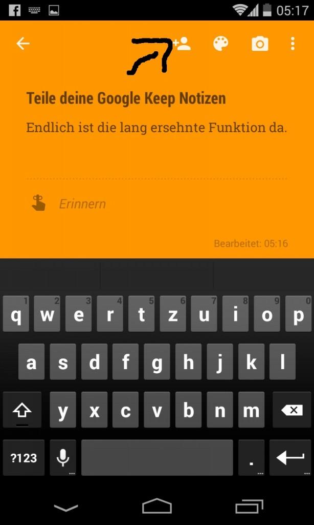Neue Google Keep Teilen Funktion - so sieht es aus wenn Personen den Notizen hinzugefügt worden sind