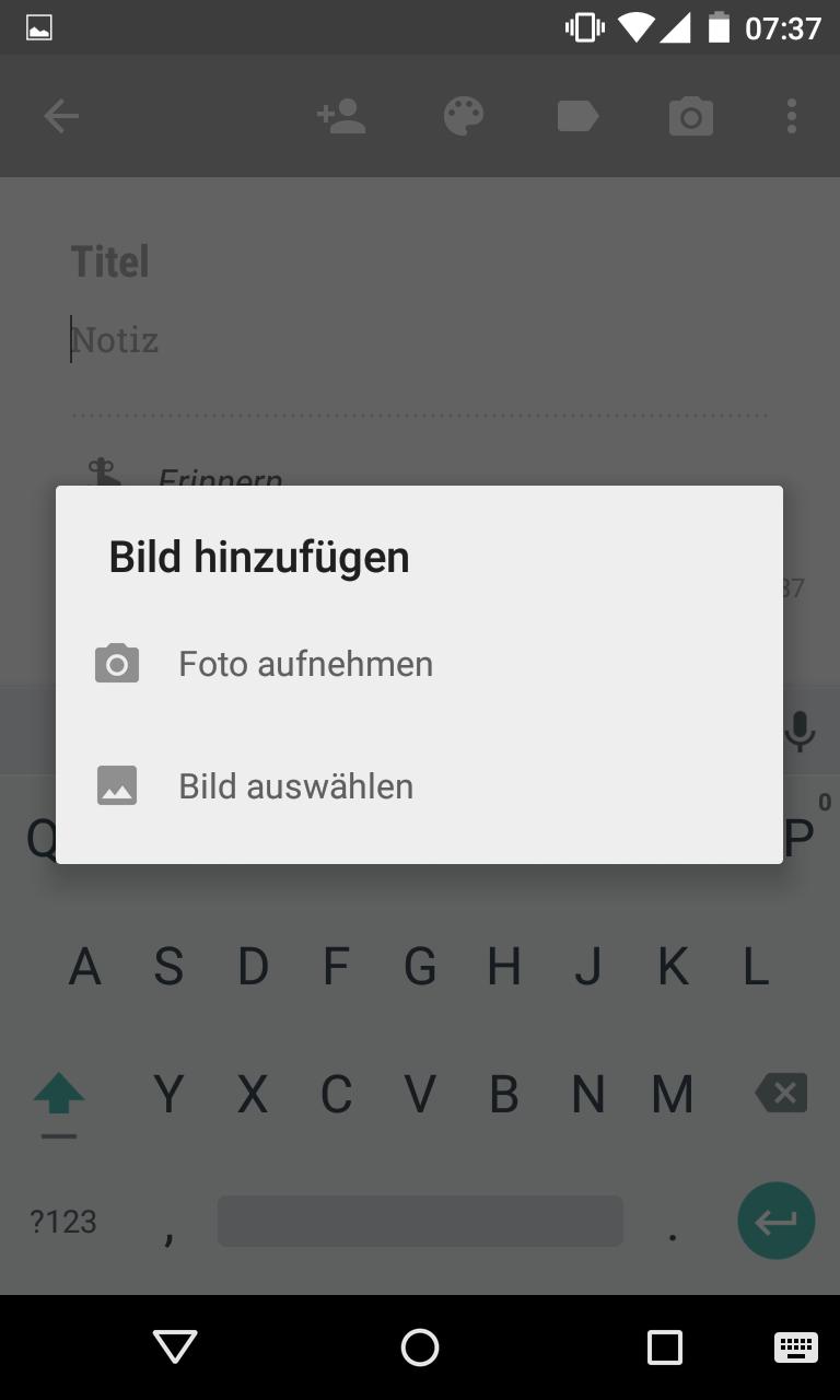 OCR Texterkennung in Google Keep - Bild hinzufügen oder Foto aufnehmen