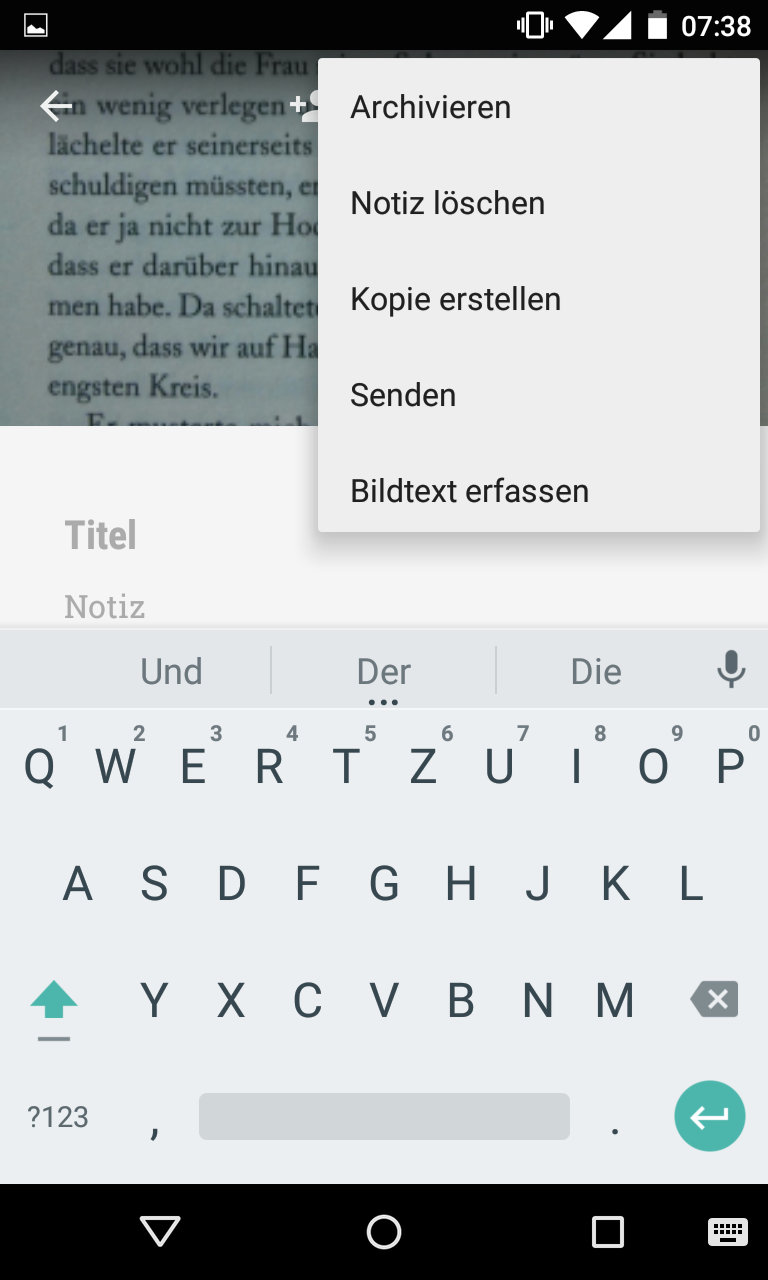 OCR Texterkennung in Google Keep - Bildtext erfassen