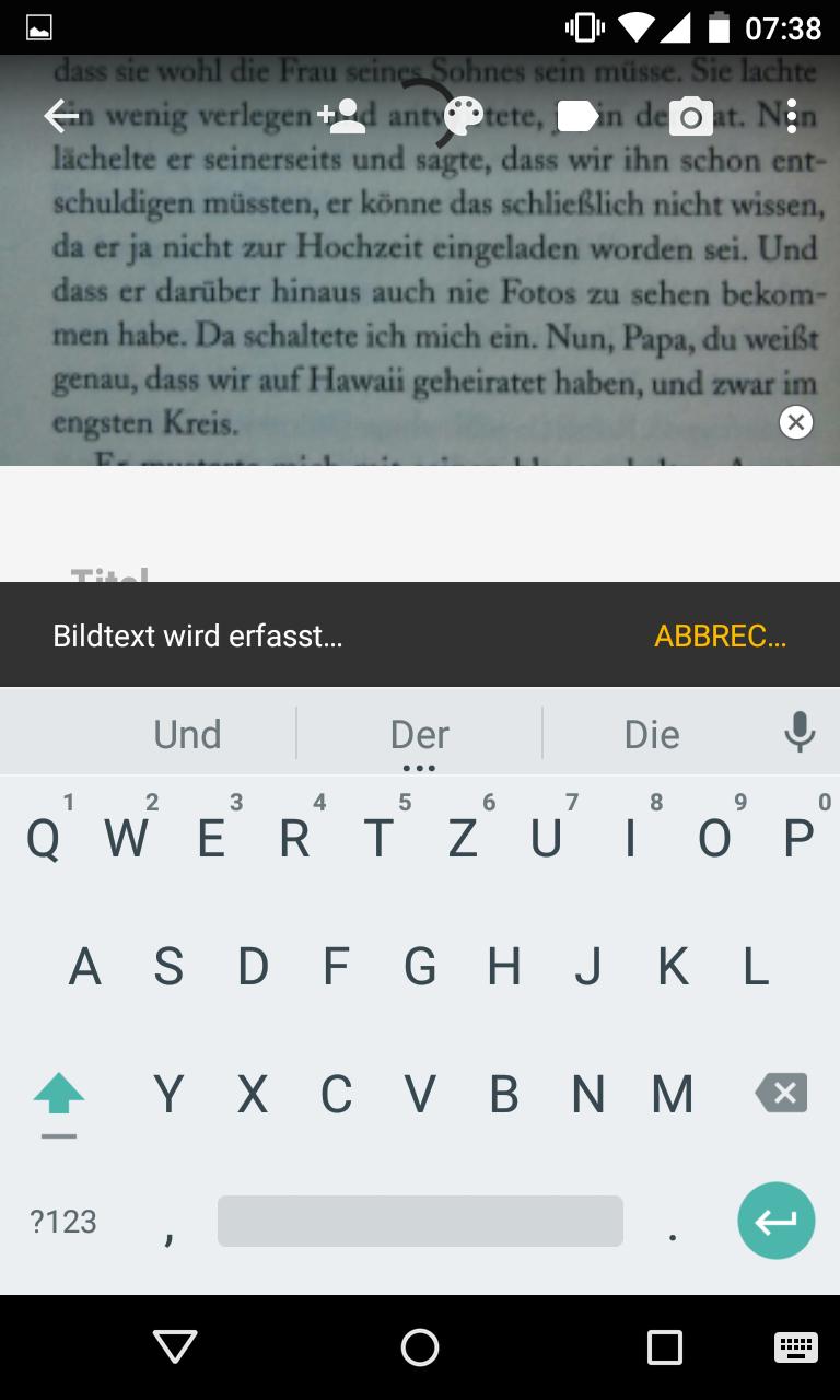 OCR Texterkennung in Google Keep - Bildtext wird bearbeitet