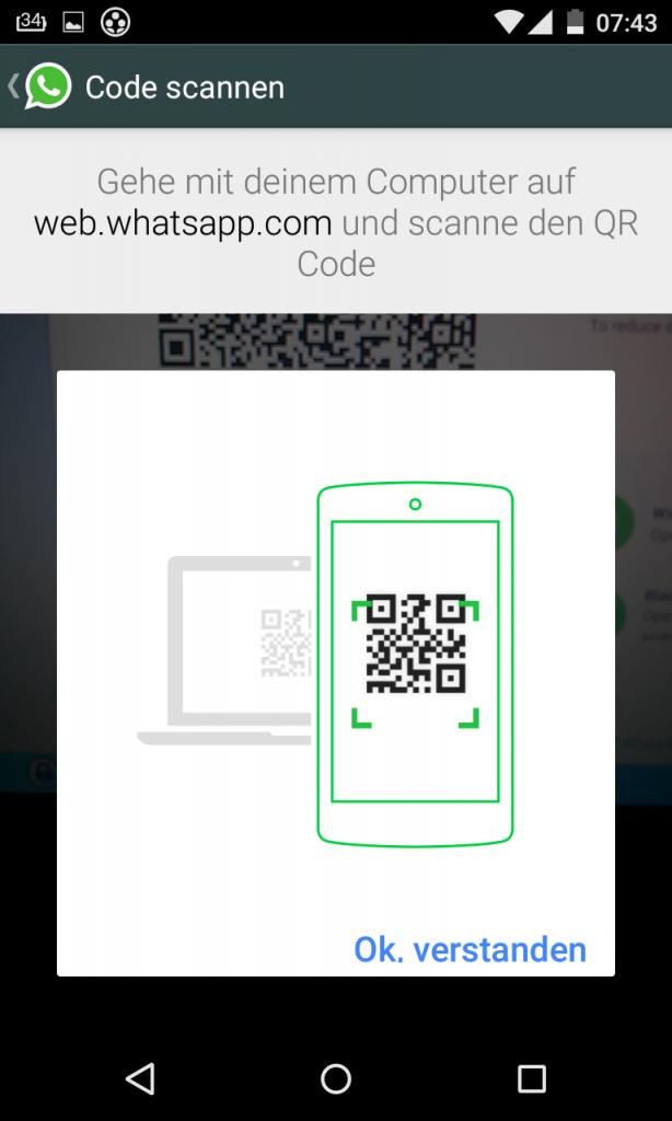 QR Code mit WhatsApp scannen für WhatsApp Web