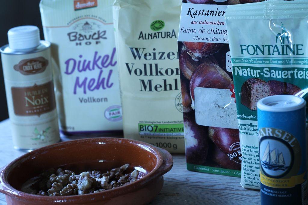 Walnuss Kastanien Baguette Zutaten für das Rezept