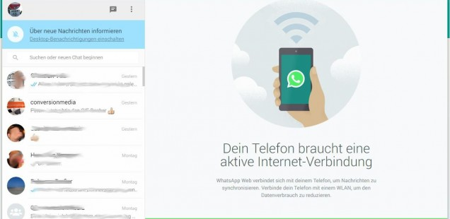 WhatsApp web Ansicht