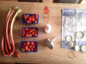 Zutaten für die Erdbeere Rhabarber Konfitüre