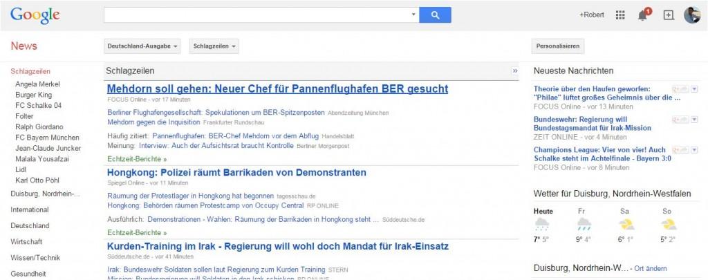 das ist Google News in Deutschland
