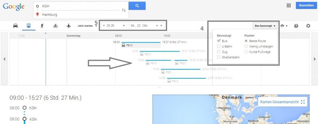 google maps fernbus routenplanung übersicht