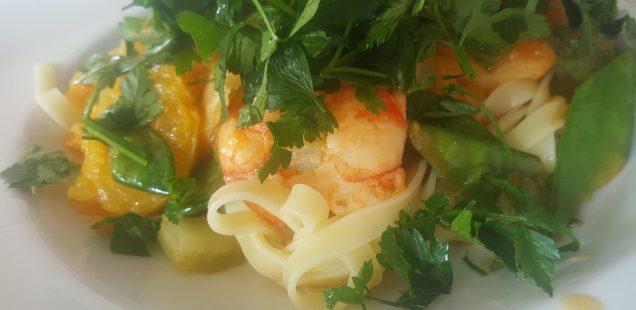 Tagliatelle mit Garnelen in Orangensauce Rezept
