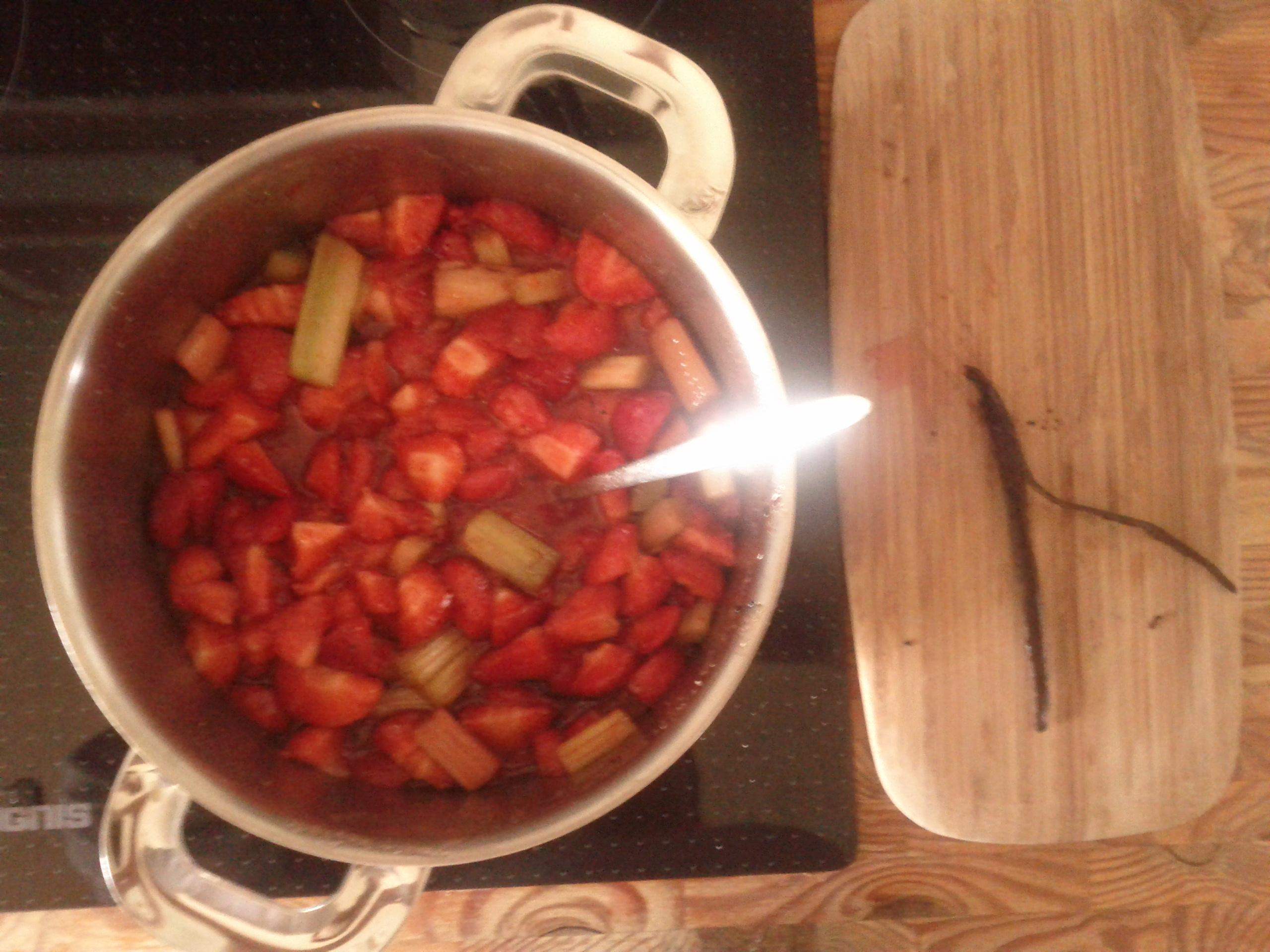 Erdbeere rhabarber im topf beim kochen rebrob for Kochen rhabarber