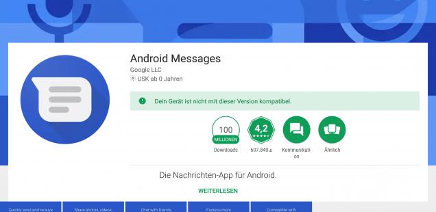 Android Messenger - leider nicht für das Tablet Pixel C geeignet.