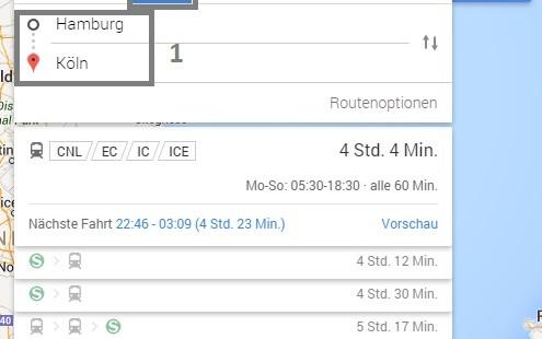 Fernbus Routen auf Google Maps